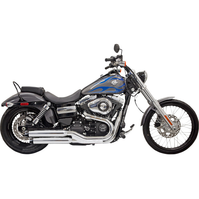 "Bassani 3"" Firepower Series Slip-On Mufflers - Chrome w/ black end cap w/ contrasting flutes - 08-up Dyna"