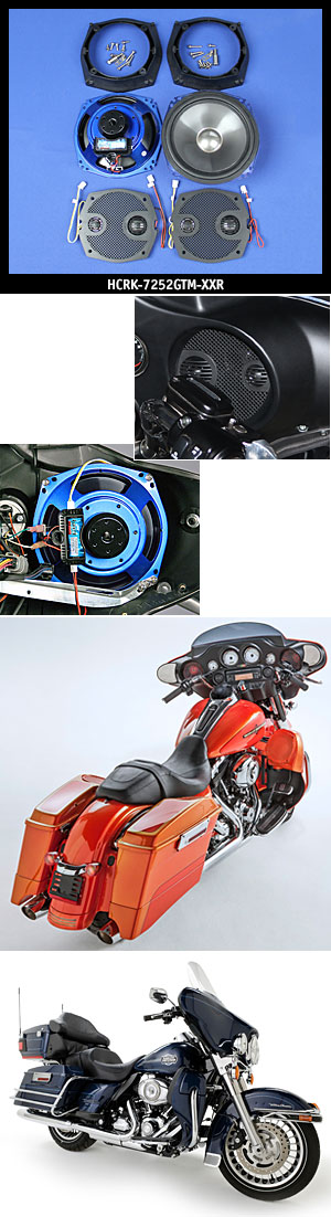 "J&M ROKKER XXR 7.25"" Fairing Speaker Kit w/Grill Mounted Mid/Tweet for 1998-2013 Harley Street/Ultra/ElectraGlide"