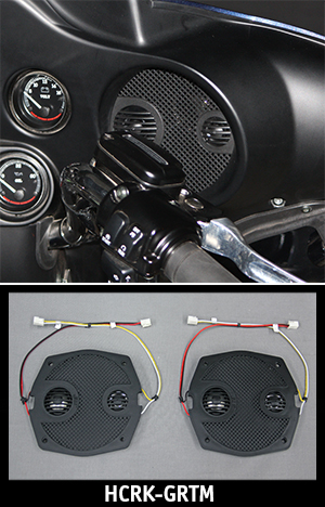 J&M ROKKER XX series Fairing Speaker Grills w/ Mids & Tweeters for 98-13 Harley Batwing fairing