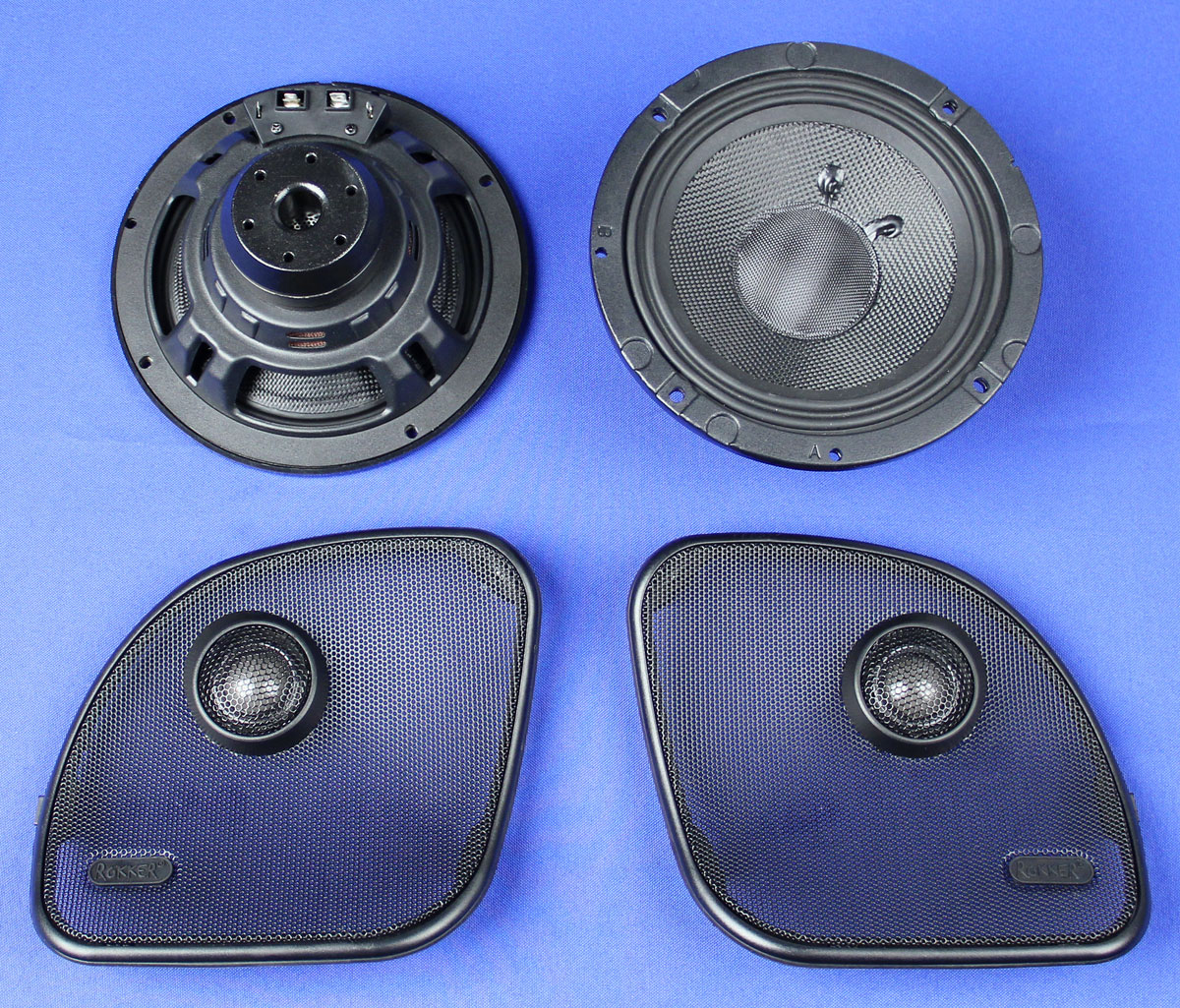 J&M ROKKER XXR 6.71 Fairing Speaker Kit w/High-Output Grill-Mounted ...