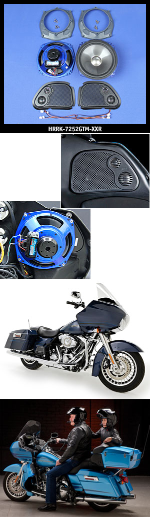 "J&M ROKKER XXR 7.25"" Fairing Speaker Kit w/Grill Mounted Midrange/Tweeter for 1998-2013 Harley RoadGlide"