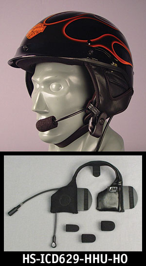 J&M Elite Integrated Helmet Headset w/HO AeroMike V for Shorty-style