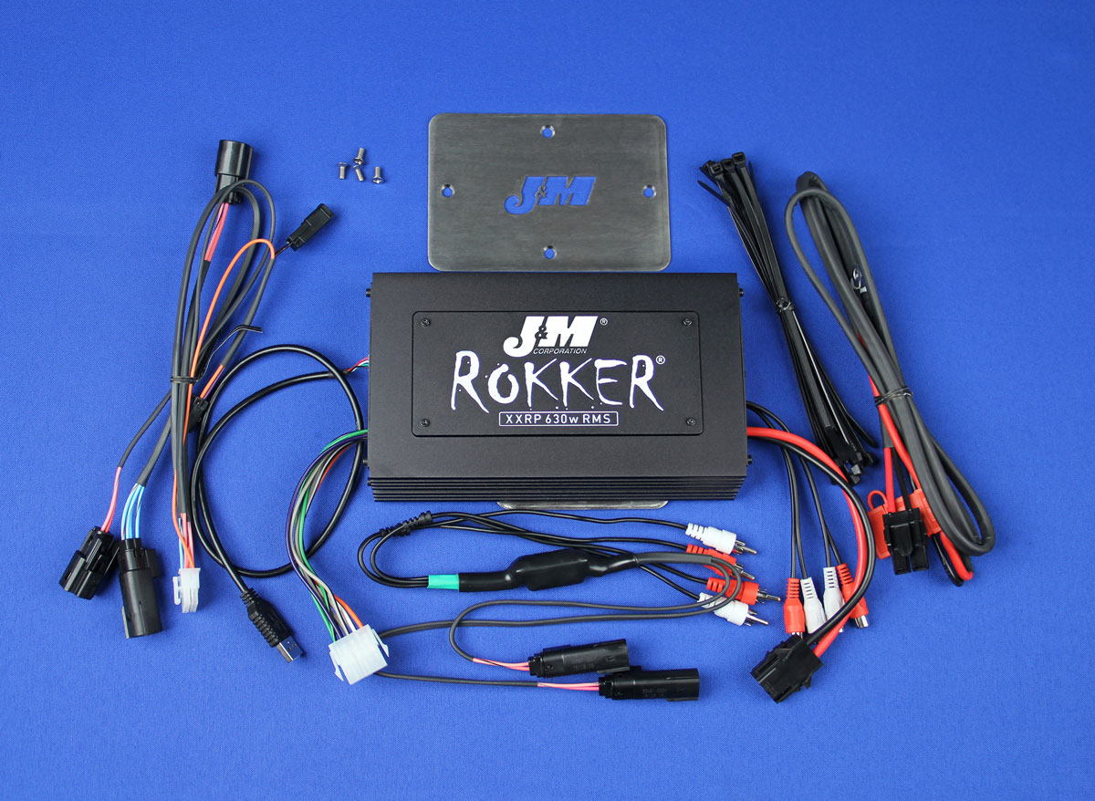 J&M ROKKER XXRP 630w 4-CH DSP Programmable Amplifier kit for 2015-2016 Harley RoadGlide w/Rear or Lower Speakers
