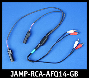 J&M Green-Band Front-Channel Isolated Quad RCA Input Amp Harness for 14+ Harley Touring