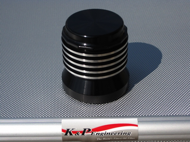 K&P Stainless Steel Micronic Oil Filters  - 82-UP Harley-Davidson - S4 - Anodized w/ Buffed Edges
