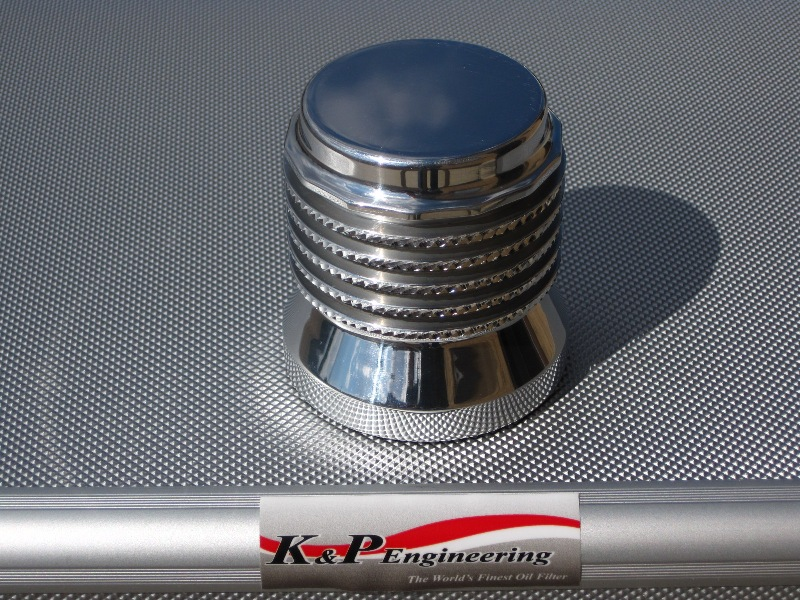 K&P Stainless Steel Micronic Oil Filters  - 82-UP Harley-Davidson - S4 - Polished w/ Diamond Cut