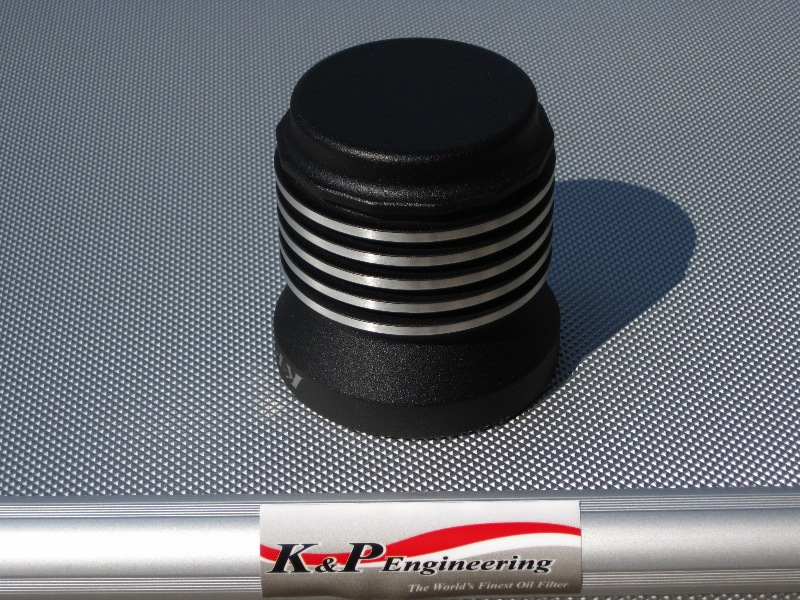 K&P Stainless Steel Micronic Oil Filters  - 82-UP Harley-Davidson - S4 - Powder Coated Buffed Edges