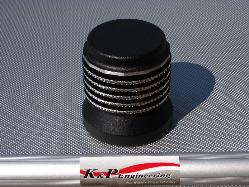K&P Stainless Steel Micronic Oil Filters  - 82-UP Harley-Davidson - S4 - Powder Coated w/ Diamond Cut