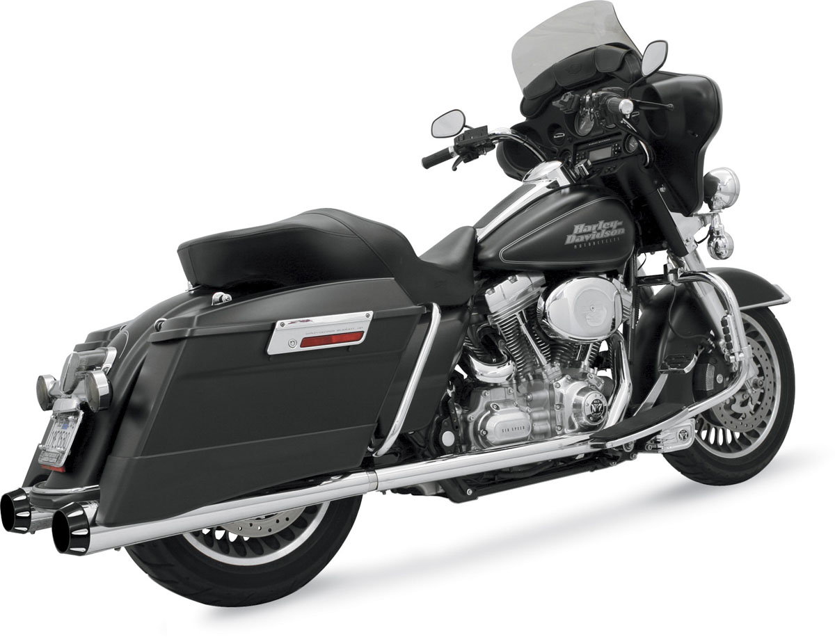 Bassani +P Stepped True-Duals - Megaphone Muffler - Chrome/Black End Cap - 95-16 Touring