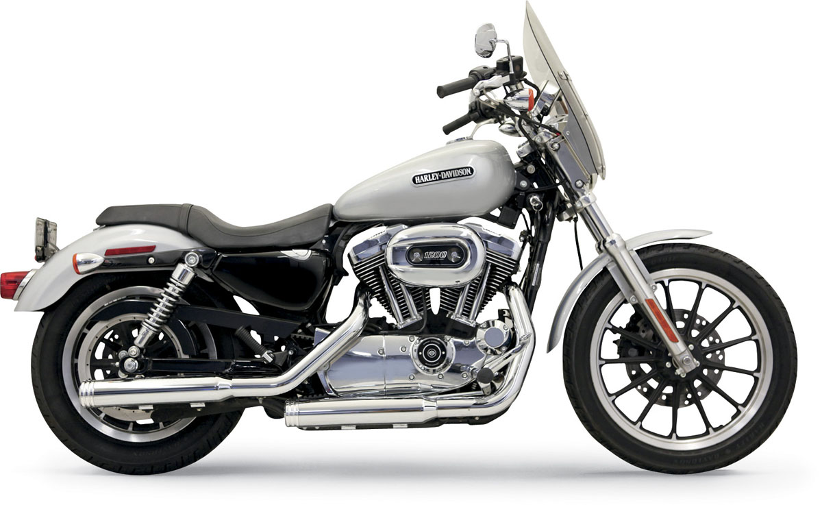 "Bassani 3"" Firepower Series Slip-on Exhaust - Straight-Cut w/ Grooved Polished end cap - 04-13 XL"