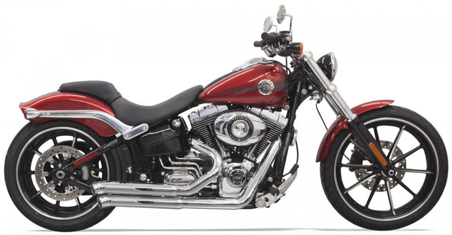 Bassani 2-into-2 Exhaust Pro-Street Turn Outs for Softail Breakout & Rocker - Chrome