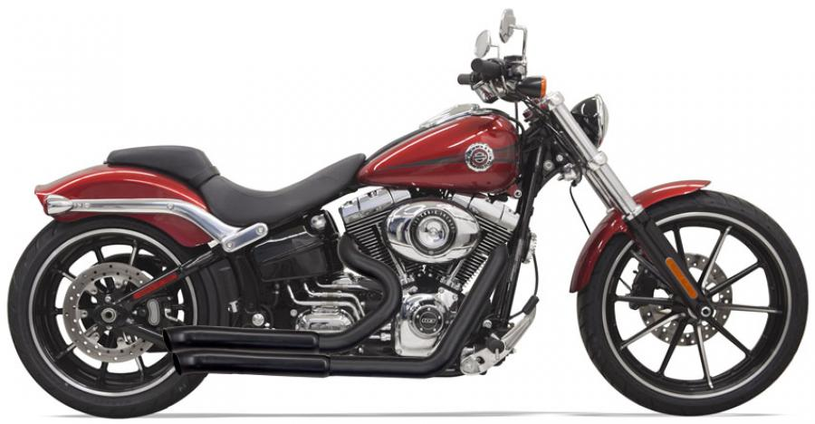 Bassani 2-into-2 Exhaust Pro-Street Turn Outs for Softail Breakout & Rocker - Black
