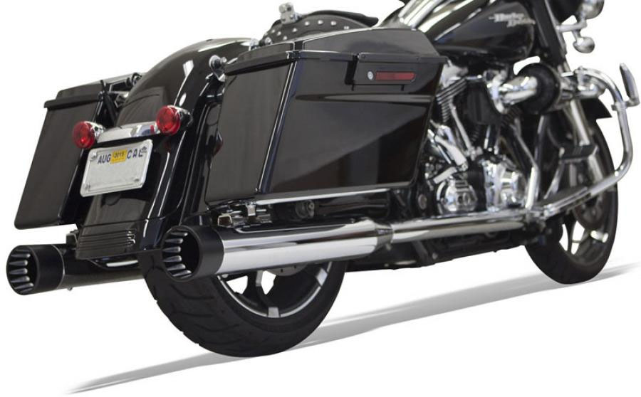 "Bassani 4"" DnT Deep-n-Throaty Straight Slip-on Mufflers - Chrome w/ Black End Cap - 95-UP Touring"