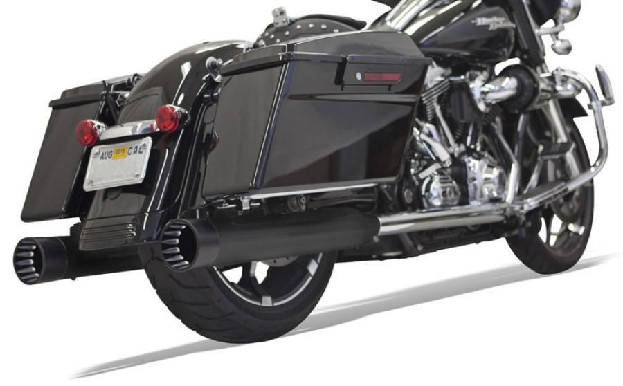 "Bassani 4"" DnT Deep-n-Throaty Straight Slip-on Mufflers - Black w/ Black End Cap - 95-UP Touring"