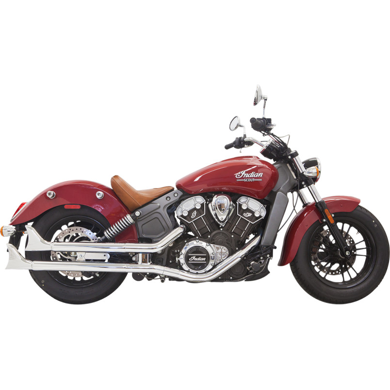 "Bassani 2-1/4"" Chrome Housing w/ Baffle & Fishtail End Caps - Indian Scout 14-15+"