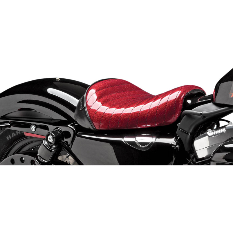 Le Pera Bare Bones Solo Seat - Red metalflake, pleated - 10-14+ XL1200X/V