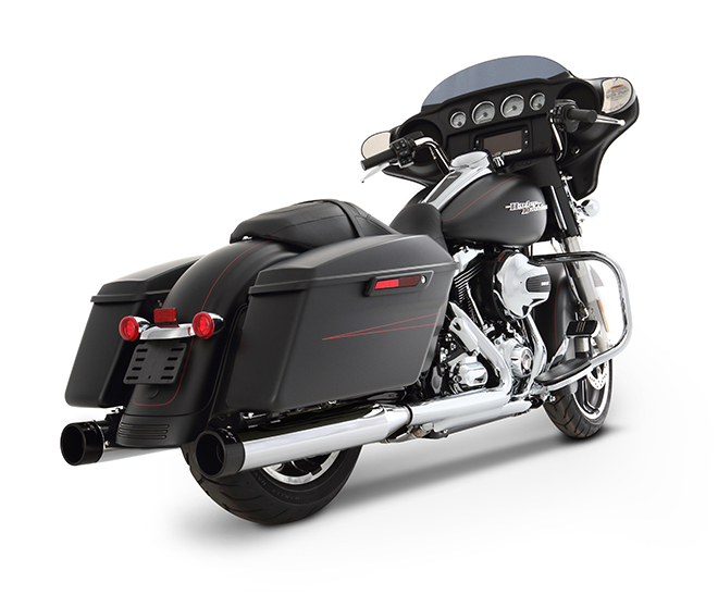 "Rinehart 4"" Slip-on Mufflers - Chrome w/ Black end caps - 95-UP Touring"