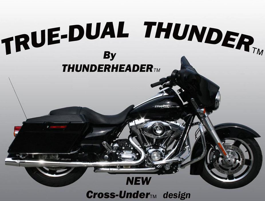 Thunderheader 1071 True Dual Thunder w/ Cross-under - Chrome - 10-Up Dresser