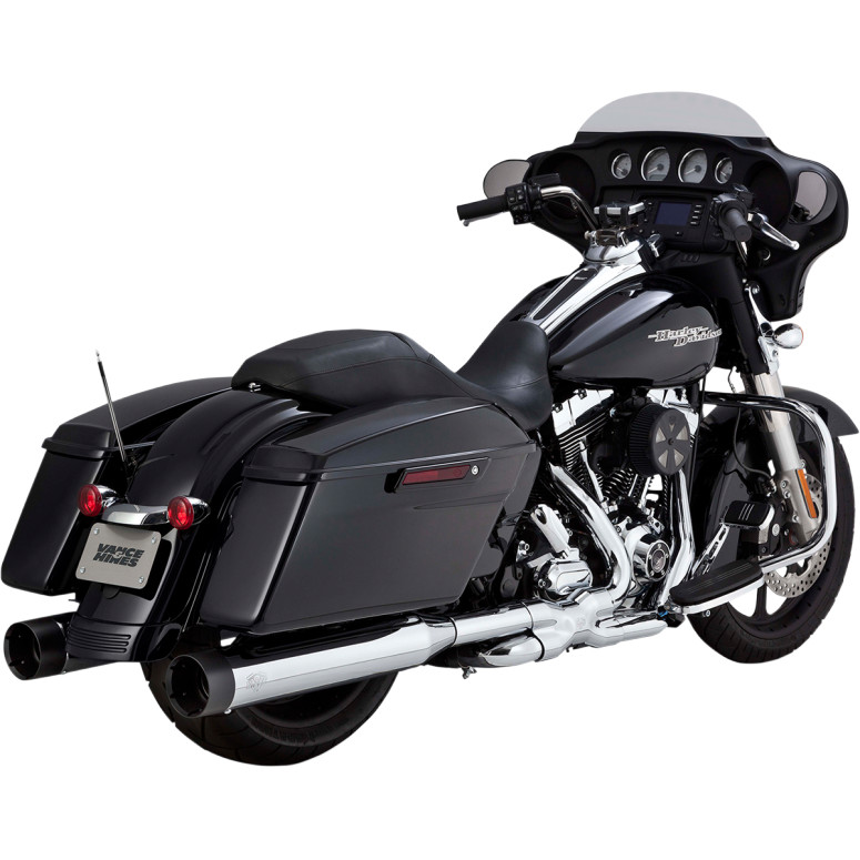 Vance & Hines OverSized 450 Slip-ons - Chrome w/ black end caps - 95-16 Touring