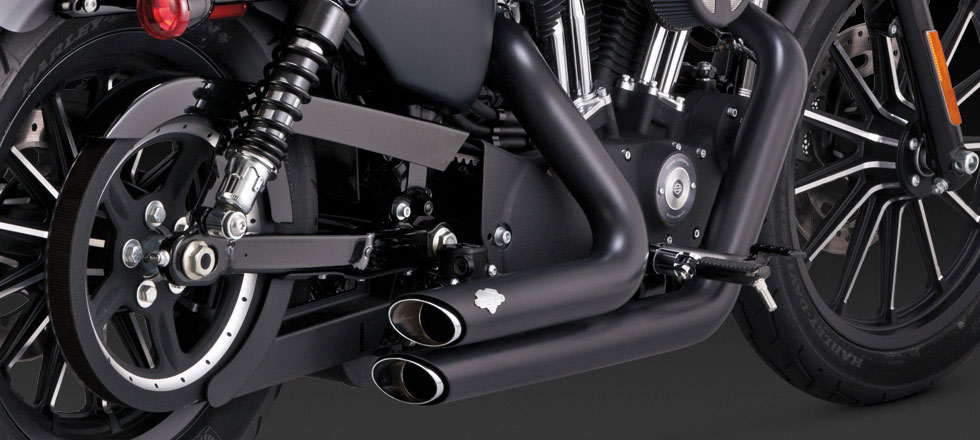 Vance & Hines Shortshot Staggered 2-into-2 Exhaust - Black - 14-up Sportster